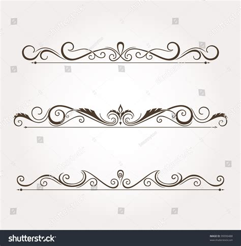 Calligraphy Decorations by Set Calligraphic Floral Design Elements Page Stock Vector