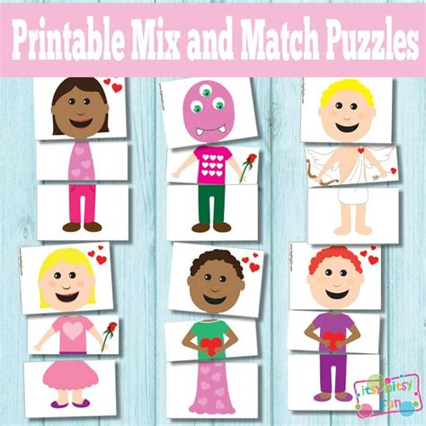 printable matching puzzle games printable valentines day mix and match puzzles busy bag