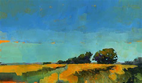 Original Semi Abstract Landscape Painting Oblique Abstract Landscape