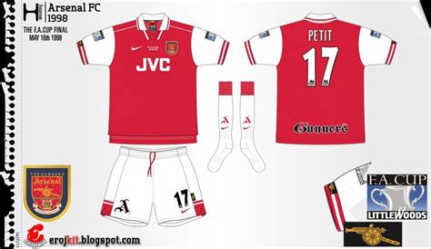 arsenal home record arsenal kit 1997 1998 home 1 arsenal kits history