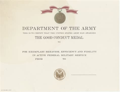 army conduct medal certificate template conduct certificate template choice image template