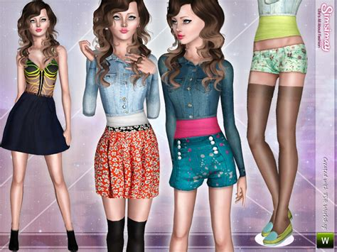sims 3 teen beach movie outfits simsimay s pomegranate mix match set 5 items