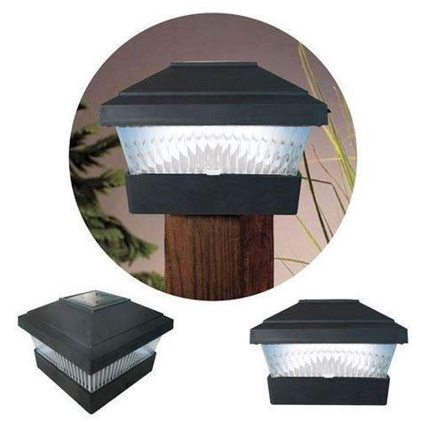 Solar Post Cap Lights Outdoor New 2 X Black Solar Powered Led Outdoor Garden Post Deck Cap Square Fence Lights Ebay