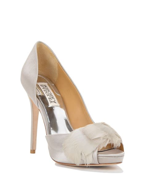 mishka shoes badgley mischka piper feather adorned evening shoe in