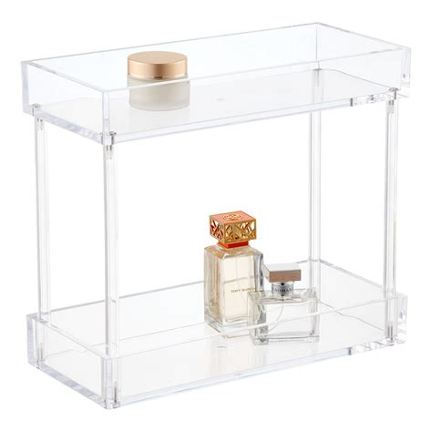 2 Tier Acrylic Tower The Container Store Acrylic Bathroom Storage