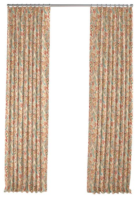 paisley curtain panels multicolor red paisley pleated curtain single panel