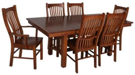 7 Pieces Oak Mission Style Dining Room Set With Rectangle Low Dining Table A America Laurelhurst 7 Solid Oak Mission Dining Set