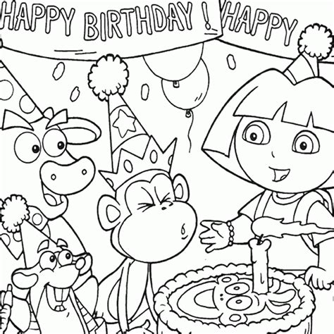free coloring pages birthday party birthday coloring dora birthday party coloring boots
