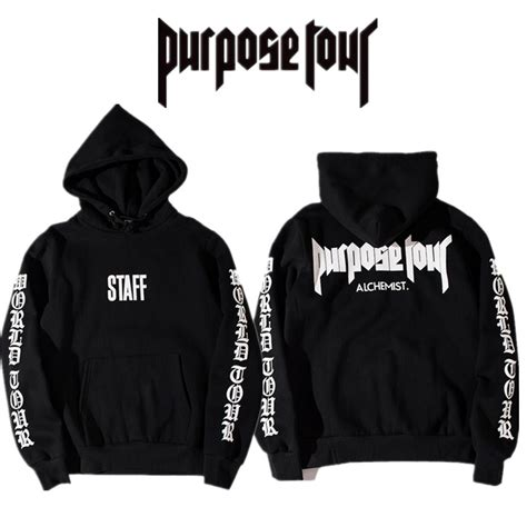 Jaket Hoodie Sweater Purpose Tour Justin Bieber Staff Pria Wanita 1 purpose tour staff hoodie brand clothing for fear of god s sweatshirts top quality
