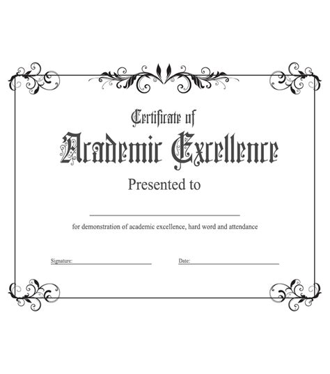 academic award certificate template academic excellence award