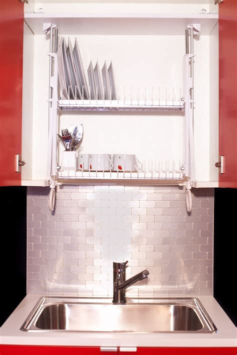 hide your dishrack in the cabinet with the drip dry
