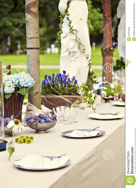 Garden Party Formal - garden wedding table setting stock photo image 33791360