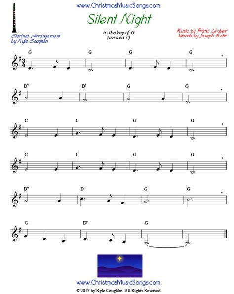 printable sheet music silent night silent night for clarinet free sheet music