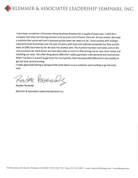 Customer Testimonial Letter Testimonial Letters Common Sense Business Solutions