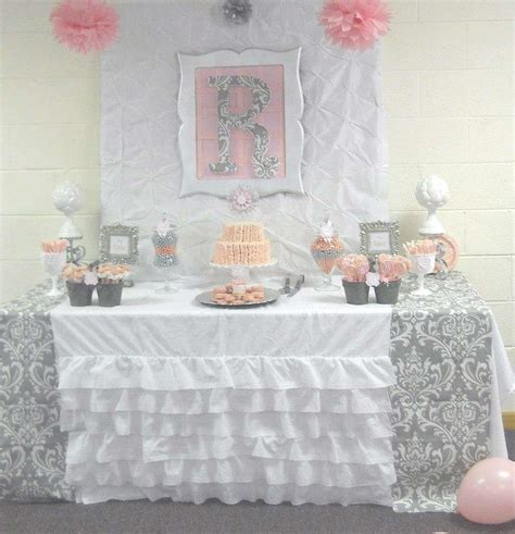pink grey damask baby shower baby shower ideas