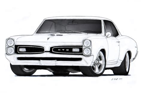 vintage cars drawings 1967 pontiac gto drawing by vertualissimo deviantart com