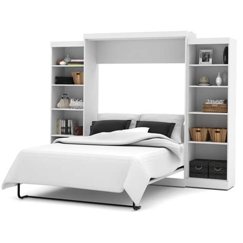bestar wall bed bestar pur queen wall bed with storage in white 26883 17