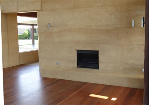 Rammed Earth Fireplace by Samford Valley Residence Queensland Rammed Earth