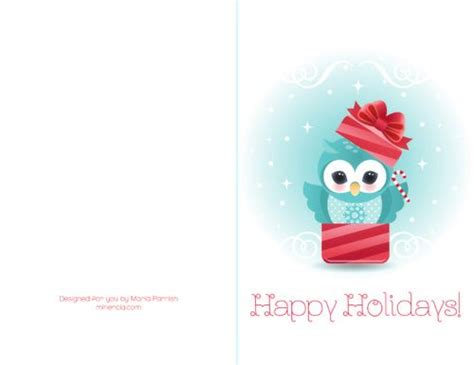 printable owl christmas cards 7 best images of printable owl christmas cards cute