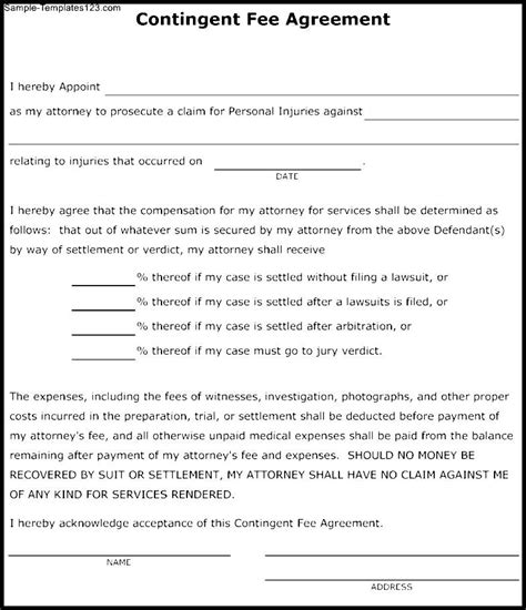 success fee agreement template contingent fee agreement template sle templates