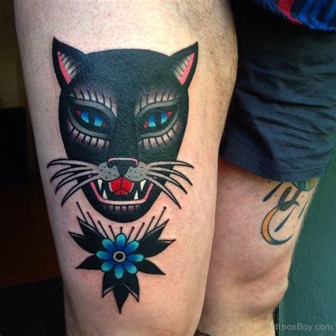 cat tattoo on thigh cat tattoos tattoo designs tattoo pictures page 13