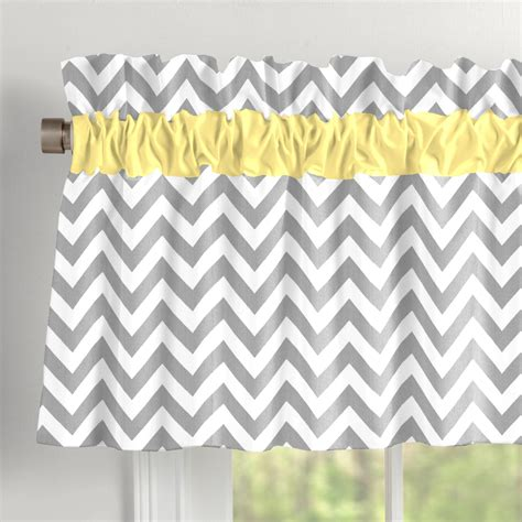 Gray and yellow zig zag window valance rod pocket carousel designs