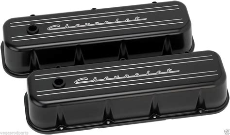 billet specialties chevrolet script black aluminum big block chevy tall valve coverschevy
