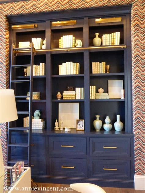 navy bookcase office