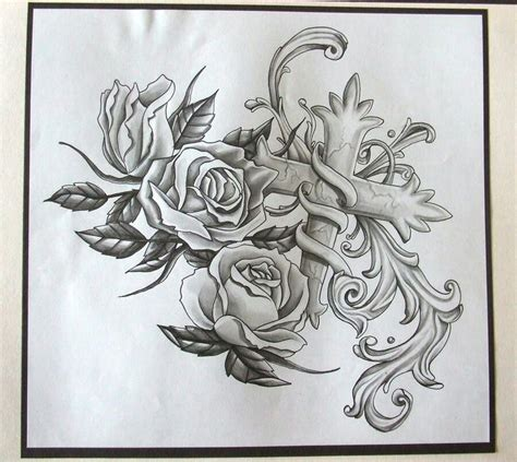 rose tattoo sleeve designs cross and roses tattoos crosses