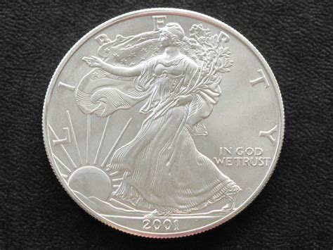 1 Oz Silver One Dollar 2001 by 2001 Liberty Walking American Silver Eagle Dollar Coin Ebay