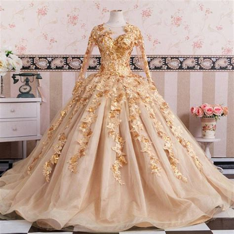Sleeve Embroidery Dress gold sleeves wedding dresses gowns lace