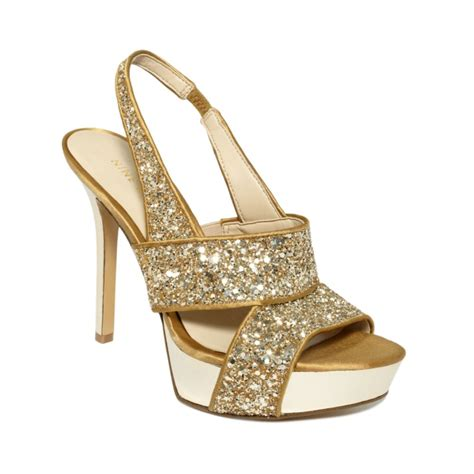 nine west fairgame platform sandals in gold gold glitter
