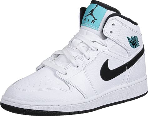white jordans shoes 1 mid gs shoes white