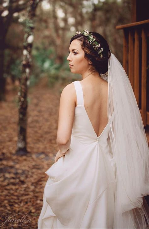 Wedding Hair With Dress by Flower Crown With Cathedral Veil Open Back Wedding Dress