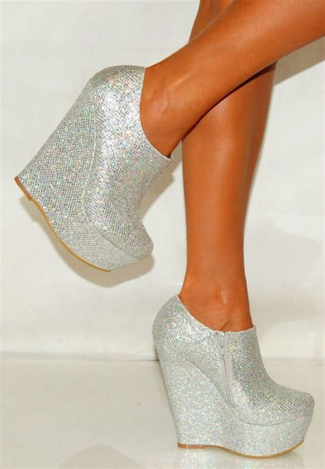 Wedges Murah Glitter Gold womens silver platform glitter sparkly high wedges shoes heels ankle boots gold high heels