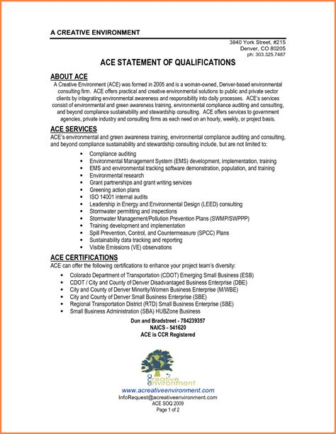 statement of qualifications template personal qualifications statement sle statement of