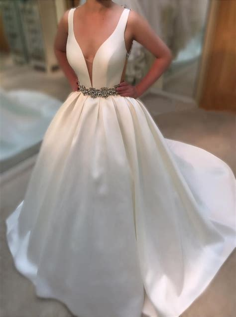 deep  neck white satin ball gowns wedding dresses