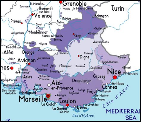 provence france map detailed map of provence cote d azur france