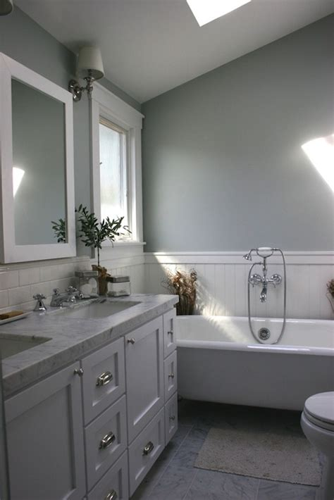 sloped bathroom ceiling cottage bathroom benjamin gray owl mustard seed interiors