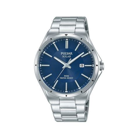 Men's Pulsar Stainless Steel Blue Dial Solar Watch PX3139