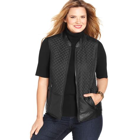 Plus Size Quilted Vest by Jones New York Signature Plus Size Mixedmedia Quilted Vest In Black Lyst