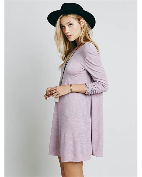 free people long sleeve swing dress free people long sleeve swing dress in purple lyst