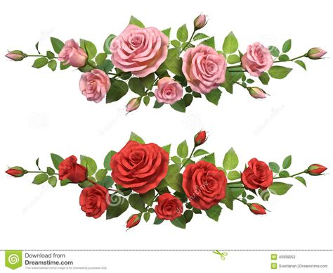 Velika Dress Bordir horisontal border with roses branches stock illustration