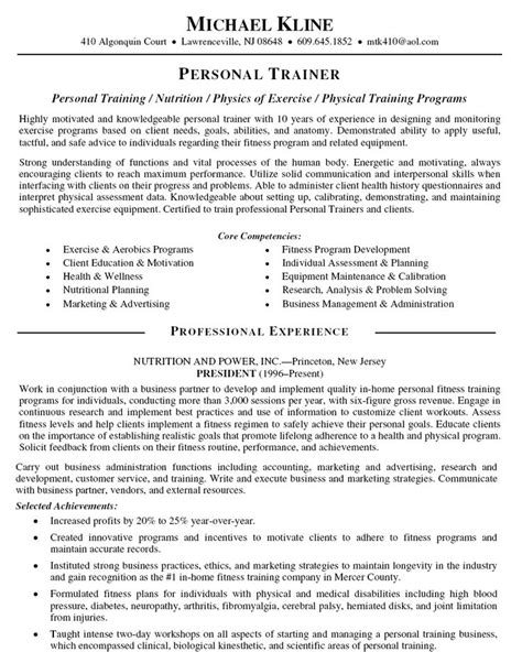 Resume Builder Objectives Personal Trainer Resume Objective Personal Trainer Resume Personal Trainer Resume Sle