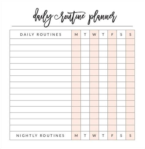 printable weekly routine planner daily planner template 29 free word excel pdf