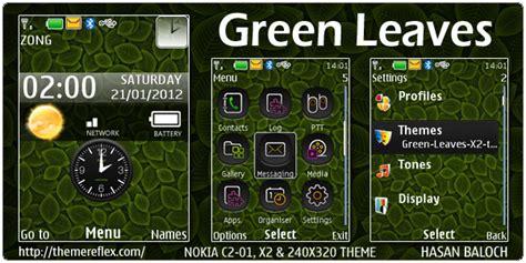 nokia x2 green themes green leaves live theme for nokia x2 c2 01 240 215 320