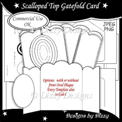 template for gatefold card scalloped top gatefold card template 163 3 00 instant