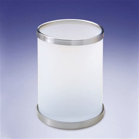 Round Frosted Glass Bathroom Waste Bin Contemporary Frosted Glass Bathroom Accessories