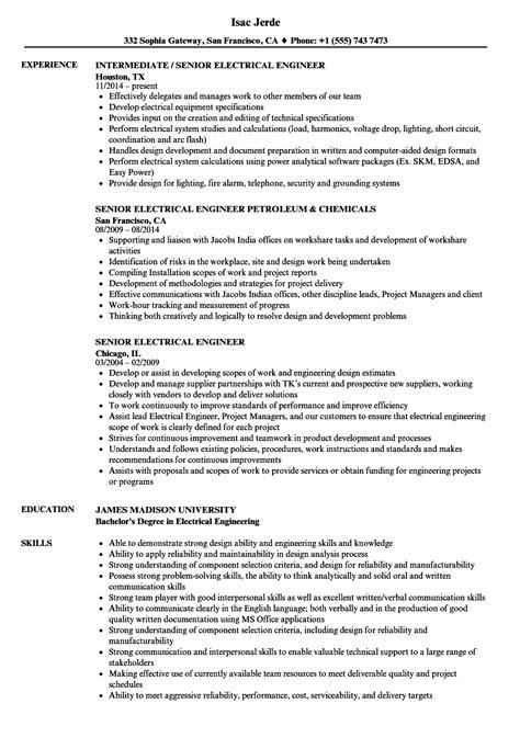 senior electrical engineer resume sles velvet