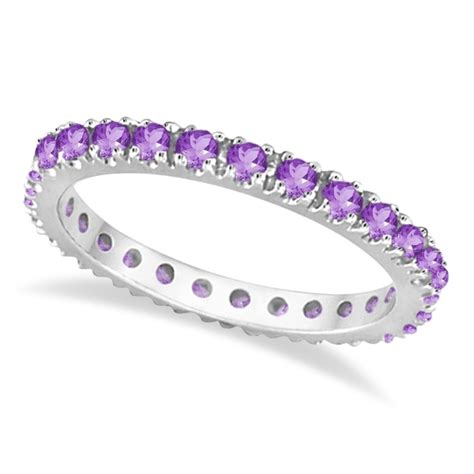 amethyst eternity stackable ring band 14k white gold 0